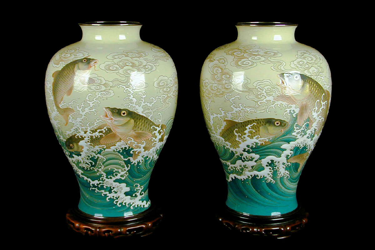 Kagedo japanese art ando jubei pair of imperial presentation kagedo japanese art ando jubei pair of imperial presentation vases with carp waves kagedo japanese art reviewsmspy