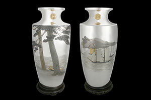 Shimizu Nanzen, Pair of Imperial Presentation Vases with Boats on the Inland Sea