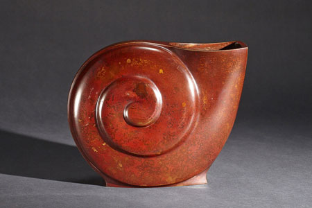Mid Century Modern Bronze Snail Form Vase by Yasumi II